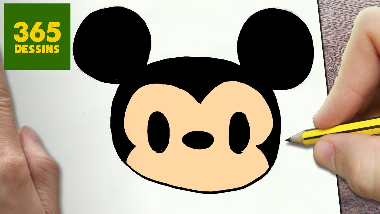 Comment dessiner mickey mouse kawaii tape par tape - Dessiner mickey ...