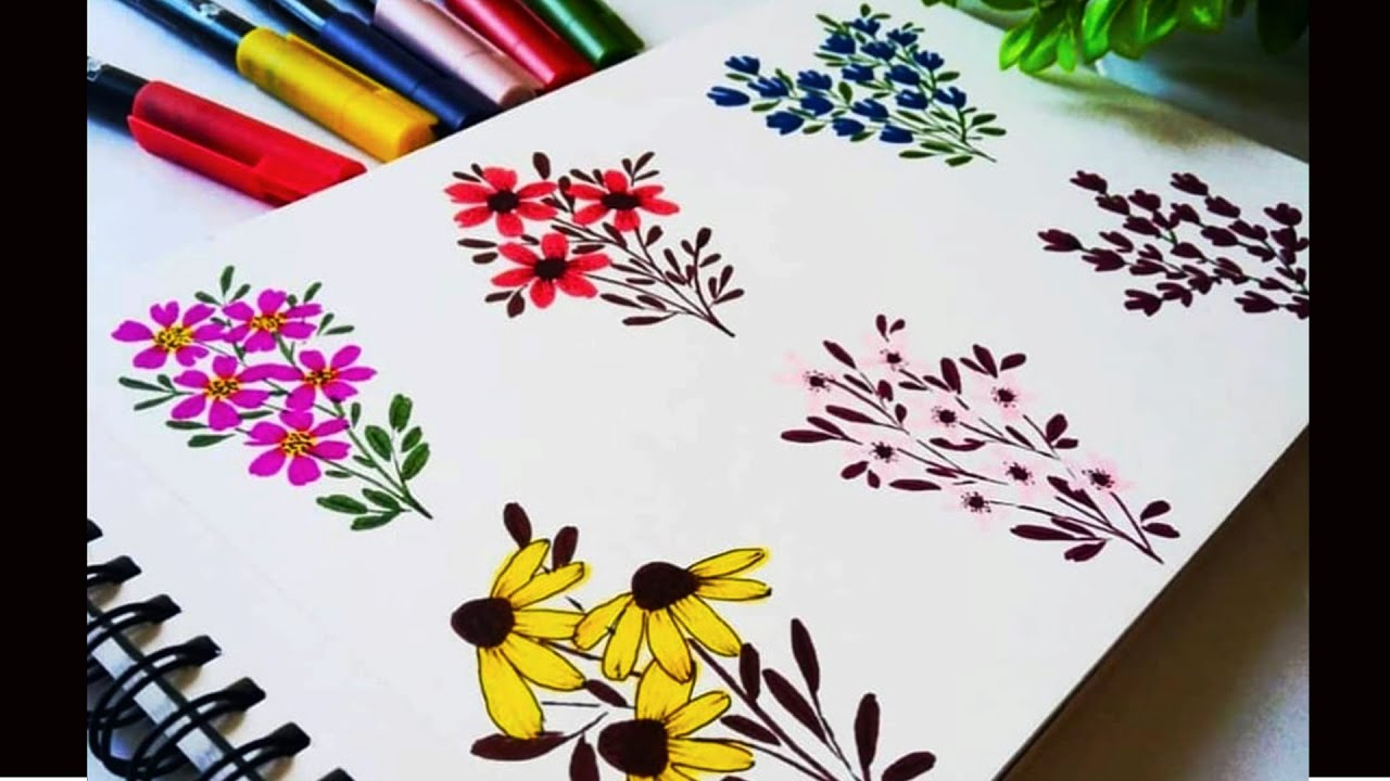 Easy & quick Flower Doodles| How to draw flowers using Brush Pens| Flowers drawing Ideas/ Project