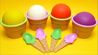 Play Doh Ice Cream Cups with Fun Toys - Colors for Kids