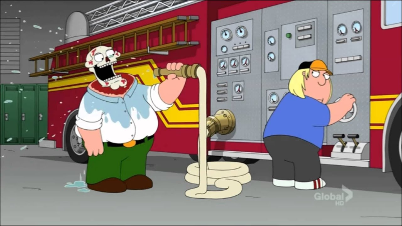 family guy - peter griffin drinks from fire hose