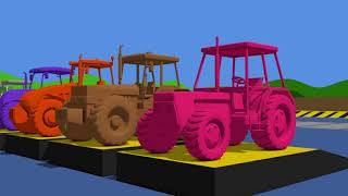 Learn Colors with Tractor & Video for Kids and babies | Colorful fruits | kolorowe TRAKTORY