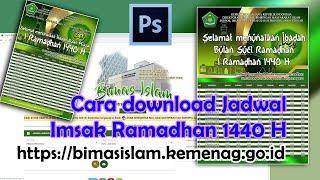 Gambar cover Cara download jadwal imsak puasa 1440 H dan desain