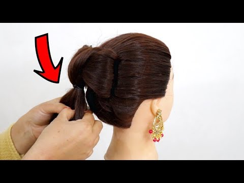 simple-juda-updo-hairstyle-for-long-hair-||-juda-hairstyle-||-karva-chauth-special-hairstyle-2019