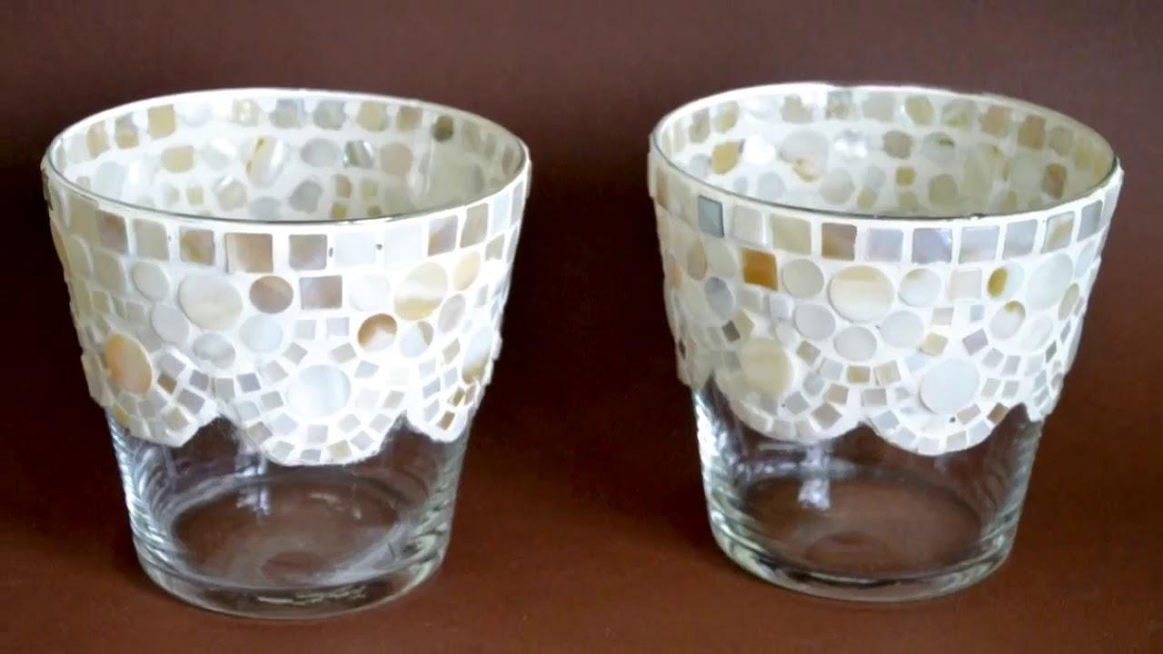 Deko Glas Windlicht Mosaik beige perlmutt 11 cm