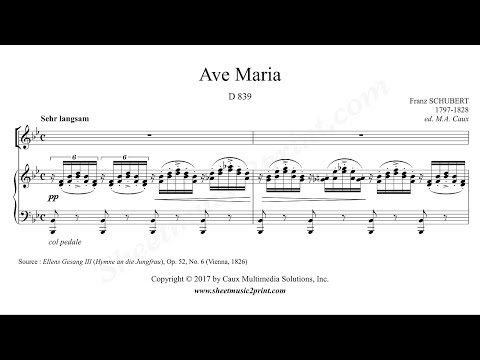 Schubert : Ave Maria, D 839 - B flat Major