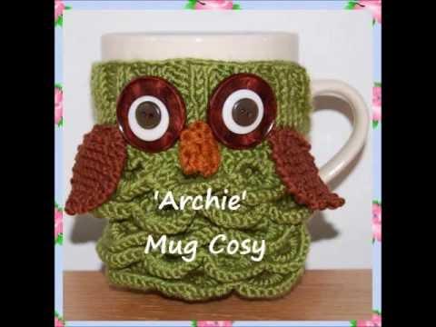 Archie Night Owl Animal Bird Prey Dk Yarn Mug Cup Cosy Warmer