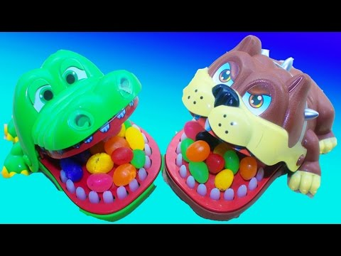 CANDY Crocodile DENTIST Fun Family Night Kids Game Toys Surprises PUPPY DOG DENTST Video Toy Review