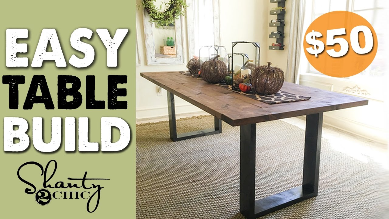 DIY Rustic Modern Dining Table - Shanty 2 Chic