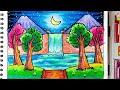 - Pemandangan Air Terjun   Belajar cara menggambar dan mewarnai dengan gradasi warna oil pastel