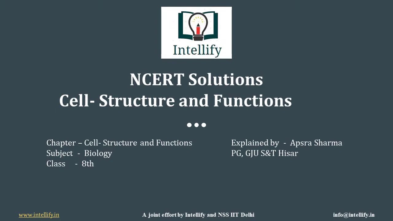 NCERT Solutions of Cell Structure and Functions | CBSE ...