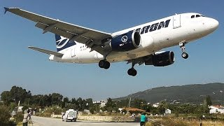 TAROM Airbus A318 - Low Landing & Takeoff at Skiathos - Second St Maarten Plane Spotting