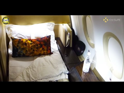 LUXURY Etihad FIRST CLASS SUITE, Airbus A340-600 Abu Dhabi-Frankfurt [AirClips full flight series]