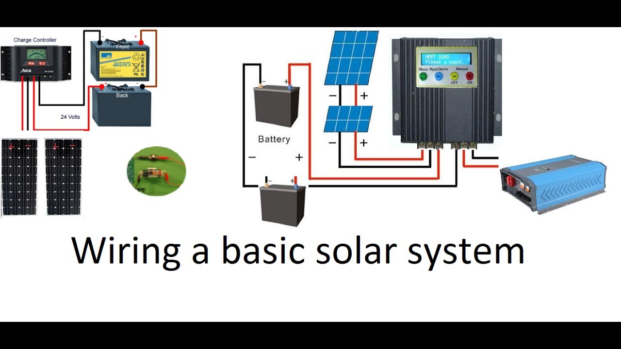 how to wire a 12 volt or a 24 volt solar system with a pwm or an mppt solar charge controller [ 1280 x 720 Pixel ]