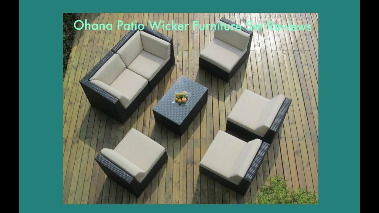 Ohana Collection PN7037: Ohana Patio Wicker Furniture Set Reviews   YouTube