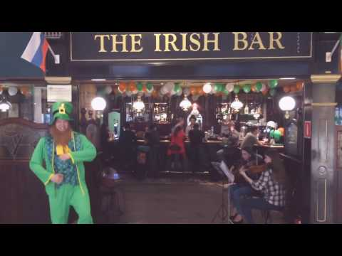 Irish bar with dancing leprechaun in Moscow, Russia airport