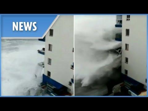 Big Rig - Monster Waves In Spain Rip Balconies Off Building!