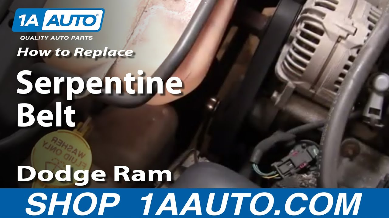 auto repair replace serpentine belt dodge ram 02