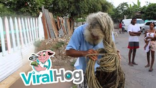 Rastaman with 40-year-old dreadlocks || ViralHog