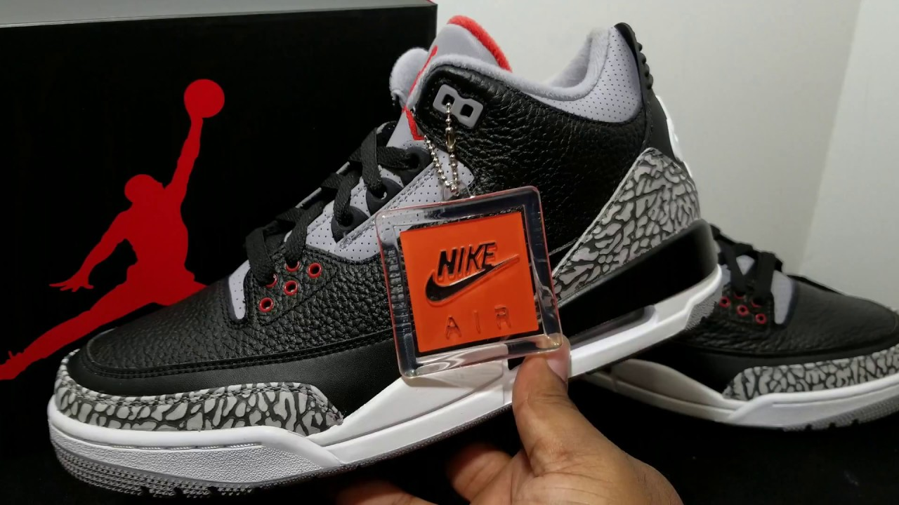 7bb4c107a886 First Look  2018 Air Jordan Retro 3 OG Black Cement Retail Review ...