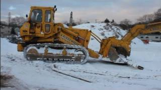 Komatsu D75S Track Loader Clearing Snow