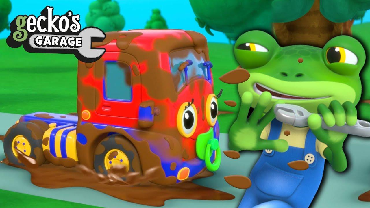 Muddy Baby Truck Needs A Wash! | Gecko's Garage | Muddy Trucks For Children | Baby Truck Videos