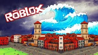 Roblox | TSUNAMI DESTROYS DIE STADT! (Roblox Disaster Survival)