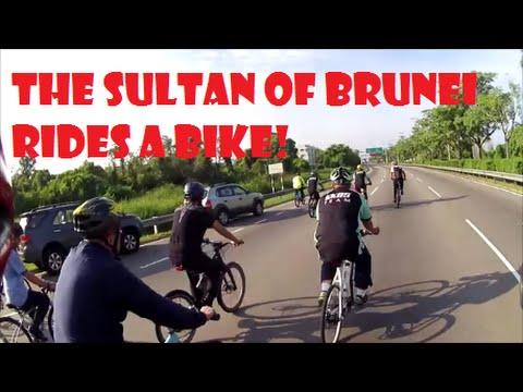 Sultan of Brunei rides a bike!