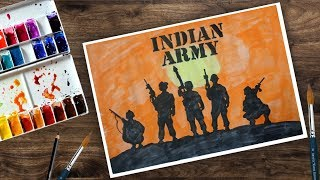 How to draw Indian Army with Guns Draw with watercolour