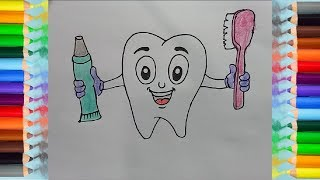 How to Draw Teeth Coloring Pages for Children, Toothpaste and Toothbrush
