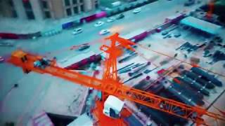 Huge Tower Cranes Being Used At a Multi Storey Residential Construction Site
