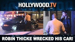 Robin Thicke Wrecks His Porsche on Sunset! - Hollywood.TV