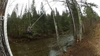 Homemade human bungee slingshot