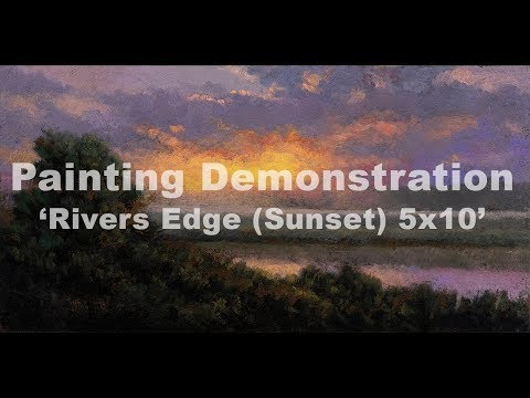 Rivers Edge   Sunrise 5×10 Tonalist Landscape Painting Demonstration