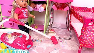 Baby Doll Washing Machine Laundry toys - Baby Dolls messy feeding vacuum cleaner doll house toys thumbnail