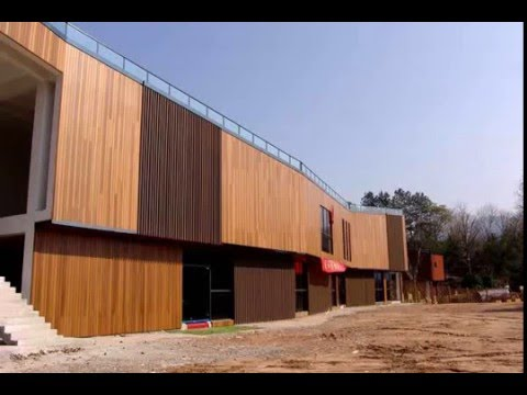 exterior wall panel faux wood materials - YouTube