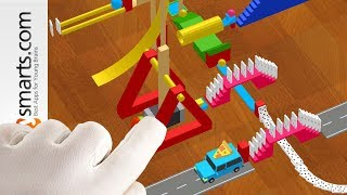 Build Fun Domino Rally Spiral on iPad, iPhone or Android with Rube Machine Tricks game