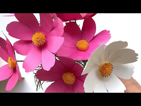 How to Make Paper Flower Cosmos with Cricut Explore or Silhouette Cutting Machines