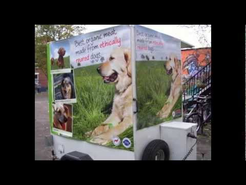 Animal Aid/Veggies Dog Meat Trailer in Derby