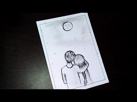 Easy Couple Drawing | Drawing Of Love Couple