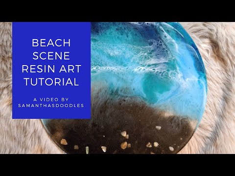 Resin Beach Scene Tutorial - Real Sand + Lacing Technique - by SamanthasDoodles