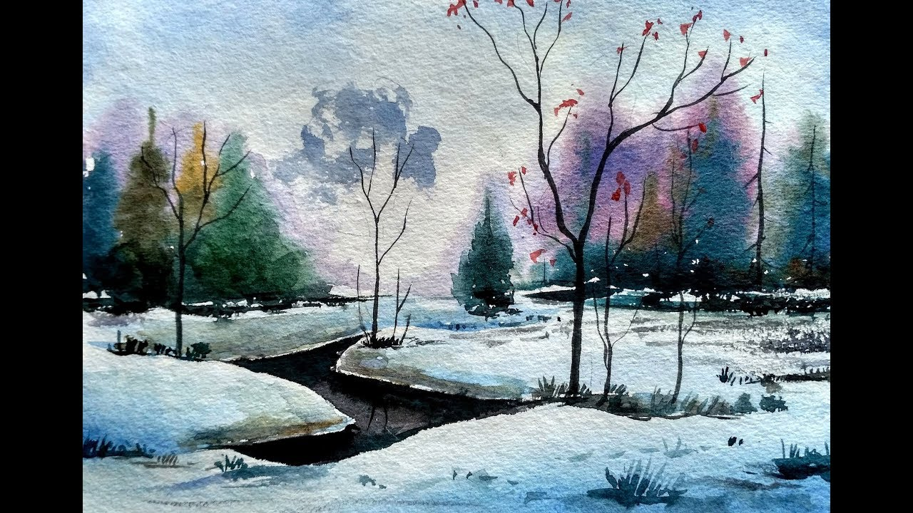Book Cover Watercolor Painting : Painting a beautiful snow scene in watercolour paint