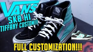 TURNING THESE OLD DESTROYED VANS SK8 HI INTO TIFFANY DUNK CUSTOMS! (TIME LAPSE) @PHAZEDNY