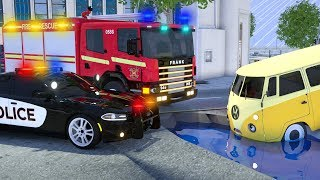 Fire Truck Frank Chased Van - Wheel City Heroes (WCH) - Sergeant Lucas the Police Car New Cartoon