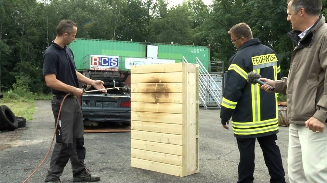 Merlin Holzhauswand ist feuerfest nach F30B.f4v - YouTube