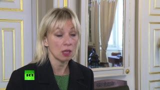 Мария Захарова даёт интервью телеканалу RT