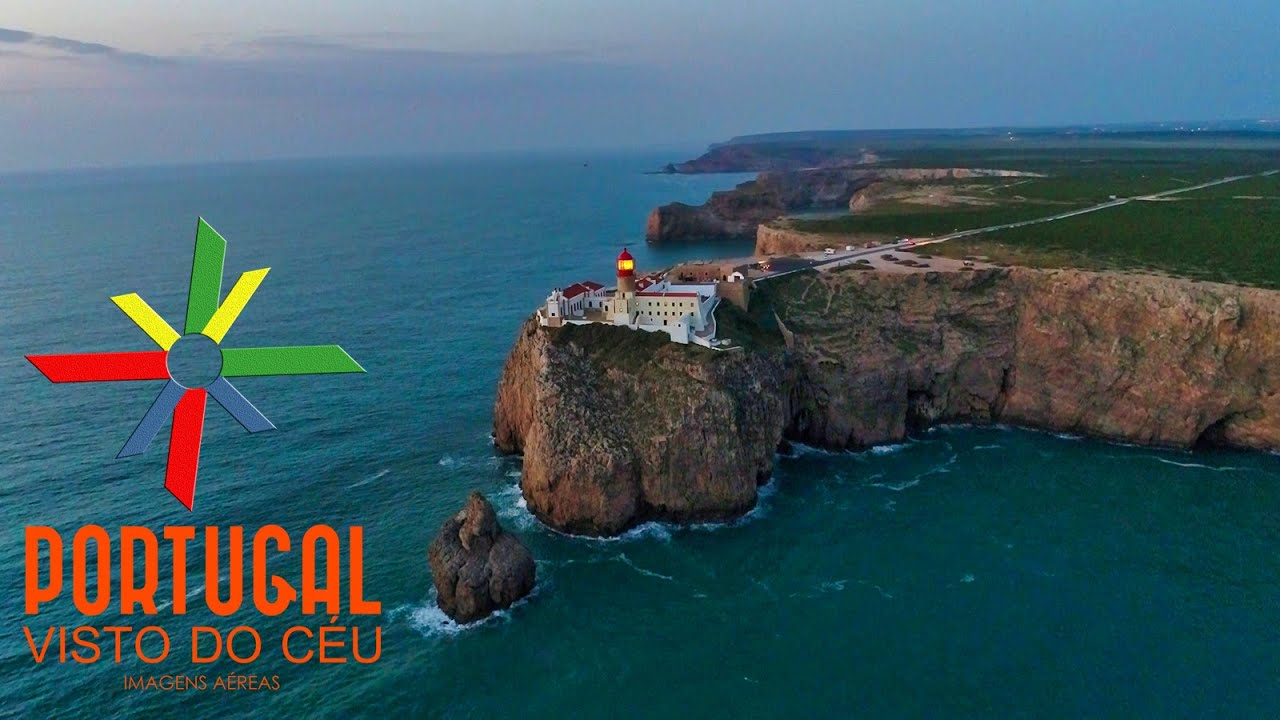 Cabo Sao Vicente Entardecer St Vincent Cape Lighthouse Aerial View Dusk Algarve 4k Ultra Hd