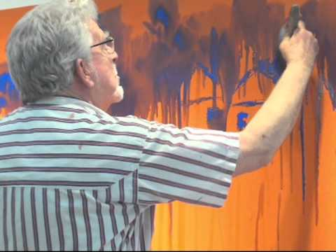 Rolf Harris paints giant picture at Birmingham art gallery