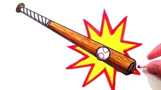 How to Draw a Baseball Bat Hitting a Baseball
