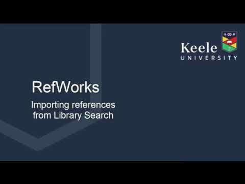 Importing references from Library Search to New RefWorks