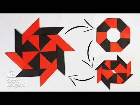 How to make a Ninja Star-transformer made of paper. Origami-moving toy